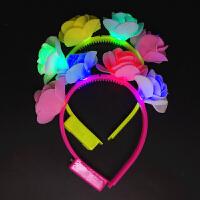 新款发光发夹头箍led灯头饰发箍头扣夜市小孩创意小礼品女孩小时四朵花发夹抖音玩具
