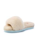 【秋冬新款 限时1折起】哈森 夏季新款女鞋 休闲时尚羊毛皮平底套脚凉拖鞋女外穿 HM87182