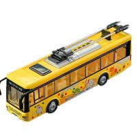城市公交汽车模型玩具合金仿真语音客车儿童声光双层旅游巴士 电车巴士 -黄