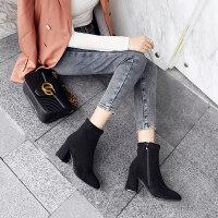 加绒短靴女冬季2019新款chic马丁靴网红瘦瘦靴裸靴方头粗跟高跟鞋