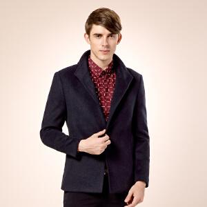 骆驼男装 新款秋季青年纯色简约西装领长袖外套毛呢大衣 男