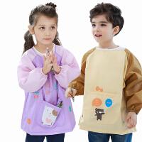 儿童防水罩衣春夏小孩围裙长袖反穿衣宝宝吃饭罩衫男女童画画衣