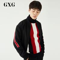 【GXG&大牌日 2.5折到手价:244.75】GXG男装 秋季男士黑色韩版都市潮流修身时尚棒球服棉夹克外套男士