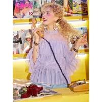 【10.16跨店2件3折:111】妖精的口袋木耳边蕾丝衫2019夏新款女很仙的雪纺上衣洋气衬衫网纱
