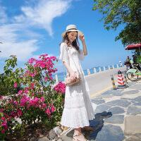 2019新款流行夏天裙子白色长裙蕾丝通勤裙拉链修身连衣裙女仙气质超仙 白色