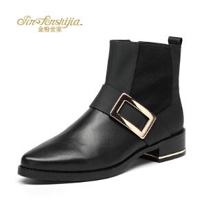 红蜻蜓旗下品牌金粉世家女鞋秋冬休闲鞋鞋子女女靴子短靴JGC1402