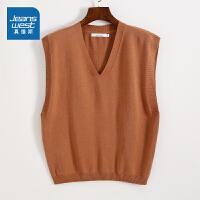 [到手价:67.9元]真维斯女装 2021春装新款 12针纯棉背心式V领宽松针织衫