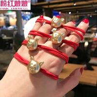 粉红娘娘(PINK EMPRESS)本命年小猪头绳韩国网红新年款发圈扎头发皮筋手链两用发绳女头饰