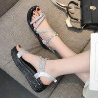 女士露趾厚底松糕凉鞋 一字式扣带休闲女鞋 新款百搭水钻女鞋子凉鞋
