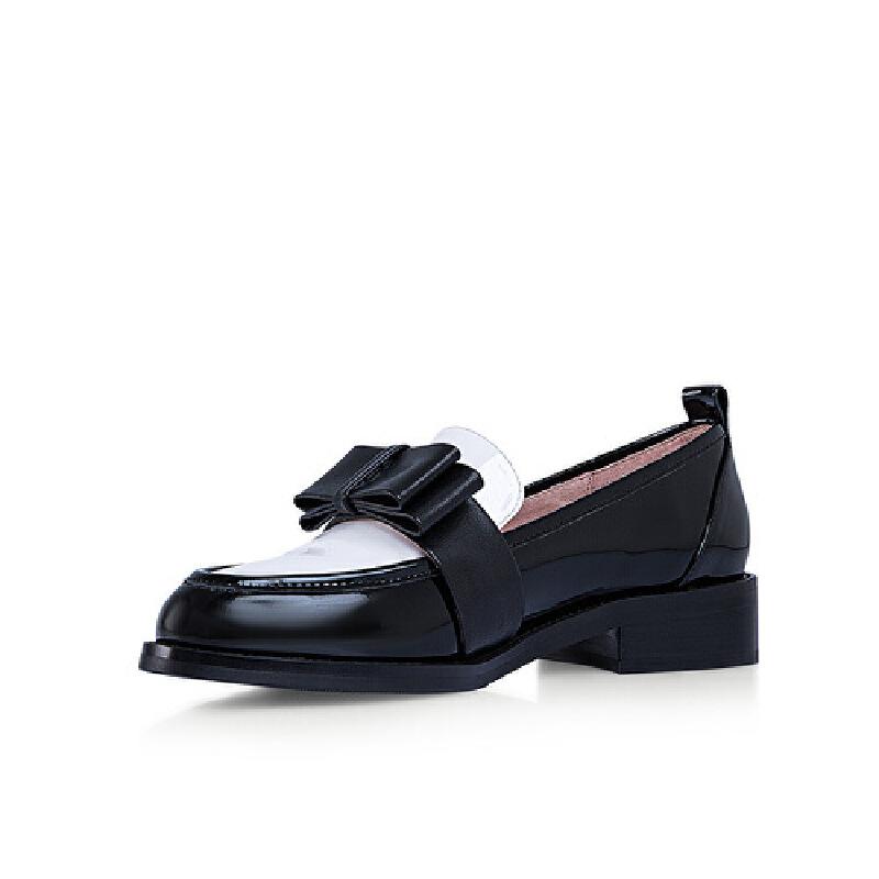 【秋冬新款 限时1折起】爱旅儿哈森旗下双层立体蝴蝶结低跟单鞋学院风女单鞋EL68203
