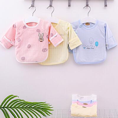 初生婴儿和尚服 夏季衣服新生儿纱布半背衣薄款宝宝单件上衣