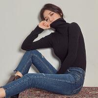 黑色高领毛衣女套头修身紧身针织打底衫女长袖秋冬2019新款加厚