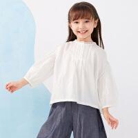 【秒杀价:167元】马拉丁童装女大童衬衫2020夏装新款休闲百搭套头白色短袖衬衫