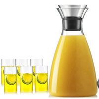 1.0L+6水杯丹麦风格耐热玻璃水具柠檬壶冷水壶简约果汁壶带盖水瓶咖啡壶