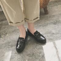 乐福鞋女2018新款百搭chic单鞋女平底英伦软妹小皮鞋复古学生女鞋 黑色