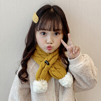 儿童款围巾女冬季球球女孩毛线围巾可爱小清新套口围脖