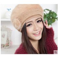时尚甜美女士保暖兔毛帽 毛线混纺贝雷帽 潮韩版新款花朵*
