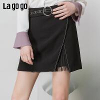 【清仓5折价131】Lagogo/拉谷谷2019春季新款时尚女个性蕾丝拼接半身裙IABB131C44