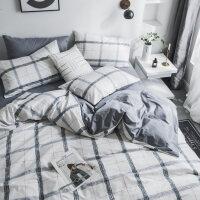 网红全棉床上用品简约黑白条纹床单四件套纯棉被套1.8米床笠