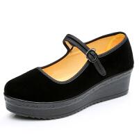 女鞋松糕底高跟鞋女单鞋加厚底防水台工作鞋软底黑布鞋 黑色