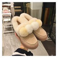 2018新品韩版百搭豆豆鞋加绒女冬季平厚底毛球一脚蹬毛毛面包棉