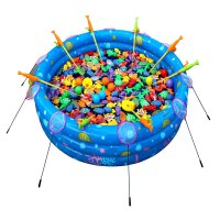 儿童钓鱼玩具池套装宝宝磁性广场摆摊小孩充气水池戏水钓鱼池家用 长方形 2.1码套餐2
