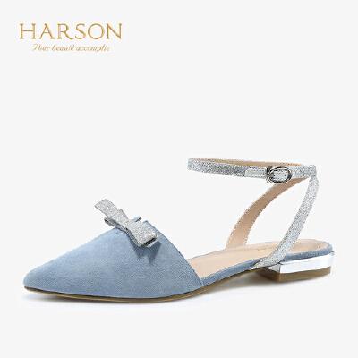 【 立减120】哈森 2019春新款羊反绒蝴蝶结尖头一字带中后空平底单鞋女HM92403