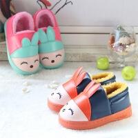 儿童棉拖鞋冬季包跟PU皮防水男女童软底防滑冬季宝宝保暖拖鞋