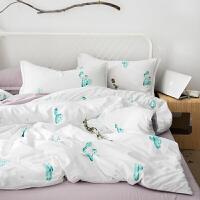 四件套全棉纯棉网红水洗棉ins风1.5床单被套1.8m床上单人床三件套