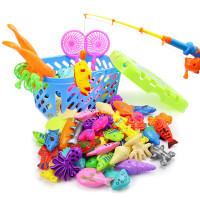 夏季儿童早教益智戏水钓鱼亲子游戏带磁性钓鱼套装收纳筐