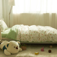 棉学生宿舍被套单人床上三件套床品 儿童床单1.2米床上用品全棉-yn定制 全工艺 柳上花