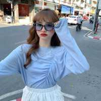 打底衫女春秋2020新款韩版宽松设计感上衣休闲薄款纯色长袖T恤潮