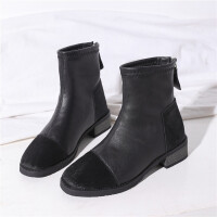 鞋子女新品韩版平底百搭ins切尔西短靴网红漆皮瘦瘦靴子潮 黑色