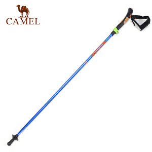 camel骆驼户外登山杖四节直握柄 铝合金徒步专用户外手杖
