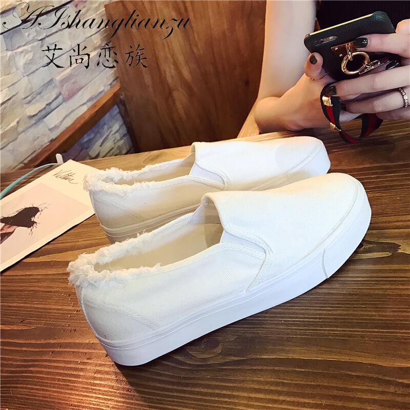 2018帆布鞋女学生韩版平跟懒人板鞋休闲