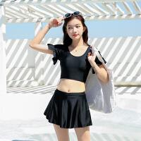 泳衣女分体裙式保守显瘦时尚新款黑色学生温泉小胸聚拢平角游泳装