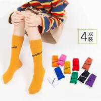 儿童袜子春秋薄款中长筒女童堆堆袜糖果色潮袜洋气秋冬袜