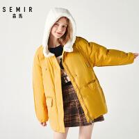 森马羽绒服女冬季新款韩版宽松连帽中长款保暖白鸭绒外套潮流