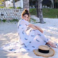 卡贝琳女2019新款韩版冷淡风裙子女夏季V领雪纺连衣裙超仙长裙沙滩裙显连衣裙女
