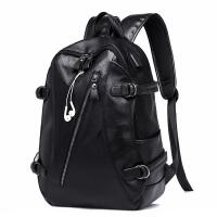 双肩包男士背包时尚潮流休闲旅行青年大容量皮质简电脑书包 潮流黑色(升级版USB+耳机孔)