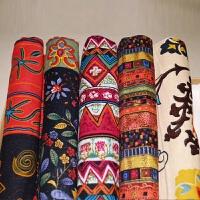 复古民族风棉麻布料波西米亚布料印花面料手工DIY桌布酒吧东南亚q