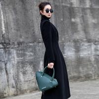 新年特惠毛呢外套女2019秋冬新款修身显瘦过膝纯色西装领长款双面大衣 黑色