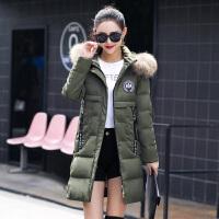 白领公社 棉衣 女士连帽毛领加绒加厚保暖服冬季新款韩版时尚女式修身显瘦棉衣中长款女装羽绒外套