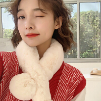 围巾女冬季网红韩版百搭仿獭兔毛可爱少女ins加厚保暖毛绒围脖潮