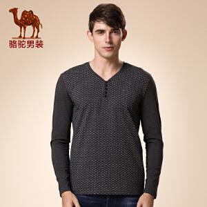 骆驼男装 新品秋款青年V领长袖打底衫 时尚波点商务休闲T恤男