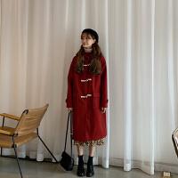 新年特惠韩国冬季宽松中长款连帽羊羔毛牛角扣加厚毛呢风衣外套女 均码
