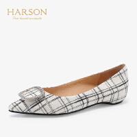 【 限时3折】哈森2019秋季新款羊反绒尖头内增高平底单鞋女 休闲奶奶鞋HL92411