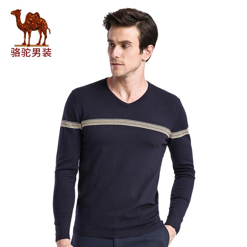骆驼男装 新品微弹套头V领长袖毛衣 提花商务休闲毛衣 男士