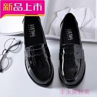 春季新款鞋黑色小皮鞋女平底正装工作鞋圆头学生韩版单鞋 黑色