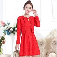 女装新品夏款2019秋季新款女装套装A字裙长袖修身显瘦两件套套裙 红色